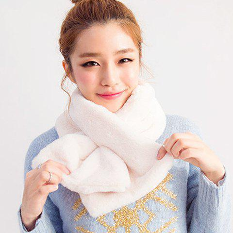 Chic Solid Color Women's Downy Winter Short Scarf - WHITE