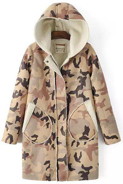 Stylish Hooded Long Sleeve Pocket Design Camouflage Pattern Women's Coat - COLORMIX S