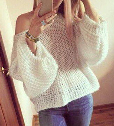 Stylish Long Sleeve Round Neck White Women's Oversized Sweater