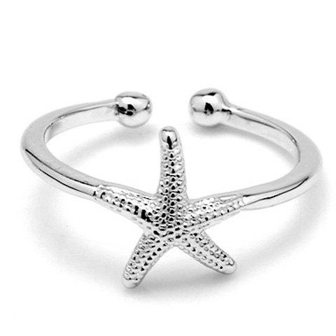 Fashionable Starfish Cuff Ring For Women - WHITE GOLDEN ONE-SIZE