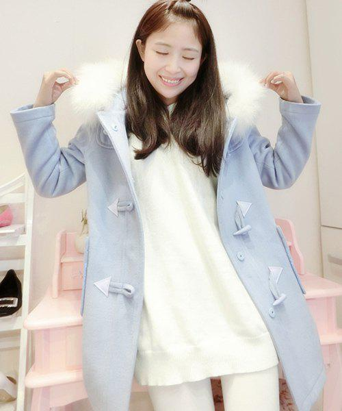 Chic Hooded Long Sleeve Loose-Fitting Button Design Women's Coat - LIGHT BLUE ONE SIZE(FIT SIZE XS TO M)