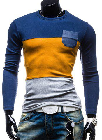Color Block Splicing Round Neck Pocket Embellished Long Sleeve Men's T-Shirt - EARTHY L