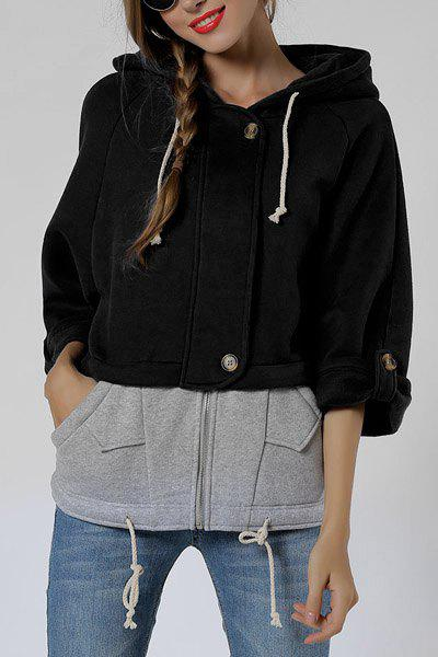 Stylish 3/4 Sleeve Hooded Color Block Loose-Fitting Women's Zip Up Hoodie - BLACK XL