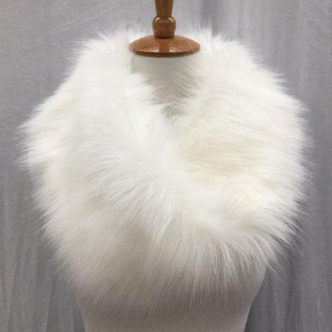 Chic Solid Color Faux Fur Winter Downy Neck Warmer For Women - WHITE