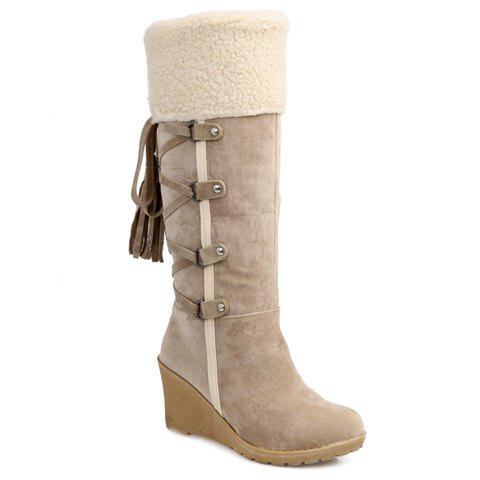 Fashion Tassel and Cross Straps Design Mid-Calf Boots For Women - OFF WHITE 36