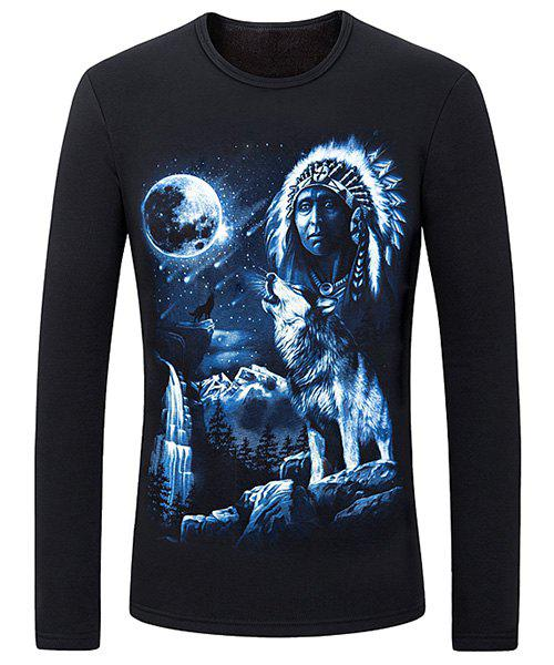 Round Neck 3D Full Moon and Wolf Print Long Sleeve Flocking Men's Sweatshirt - BLACK M