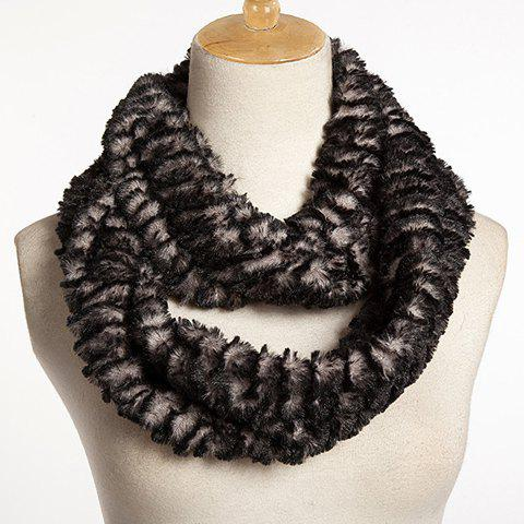 Chic Multilayer Faux Fur Winter Downy Neck Warmer For Women - BLACK