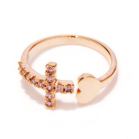 Rhinestone Cross Heart Ring - ROSE GOLD ONE-SIZE