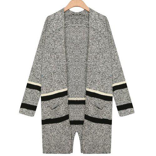 Stylish Collarless Long Sleeve Loose-Fitting Striped Cardigan For Women - GRAY ONE SIZE(FIT SIZE XS TO M)