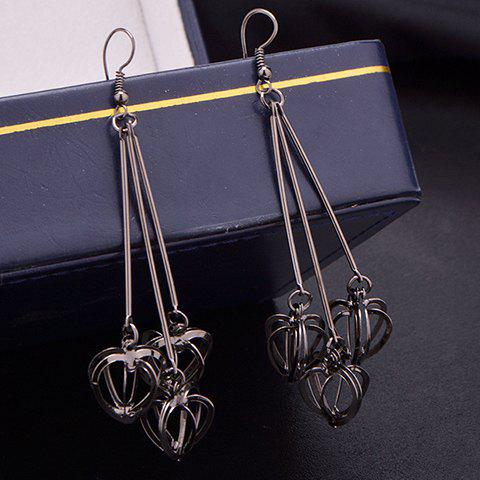 Stereoscopic Hollow Out Heart Drop Earrings - BLACK