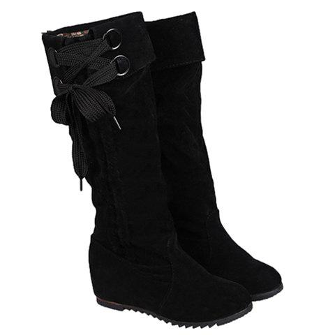 Simplicity Flock and Pure Color Design Mid-Calf Boots For Women - BLACK 37