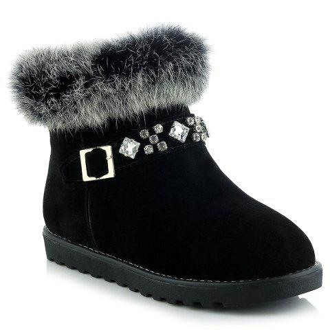 Trendy Rhinestones and Faux Fur Design Women's Short Boots - BLACK 35