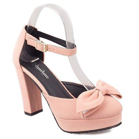 Ladylike Bow and Two-Piece Design Women's Pumps - PINK 38