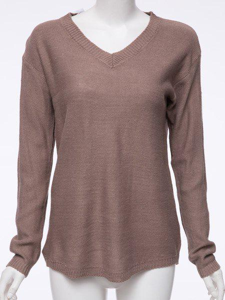 V Neck Tunic Jumper - DARK KHAKI S