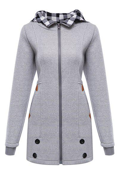Stylish Hooded Long Sleeve Button Design Gingham Women's Hoodie - GRAY S