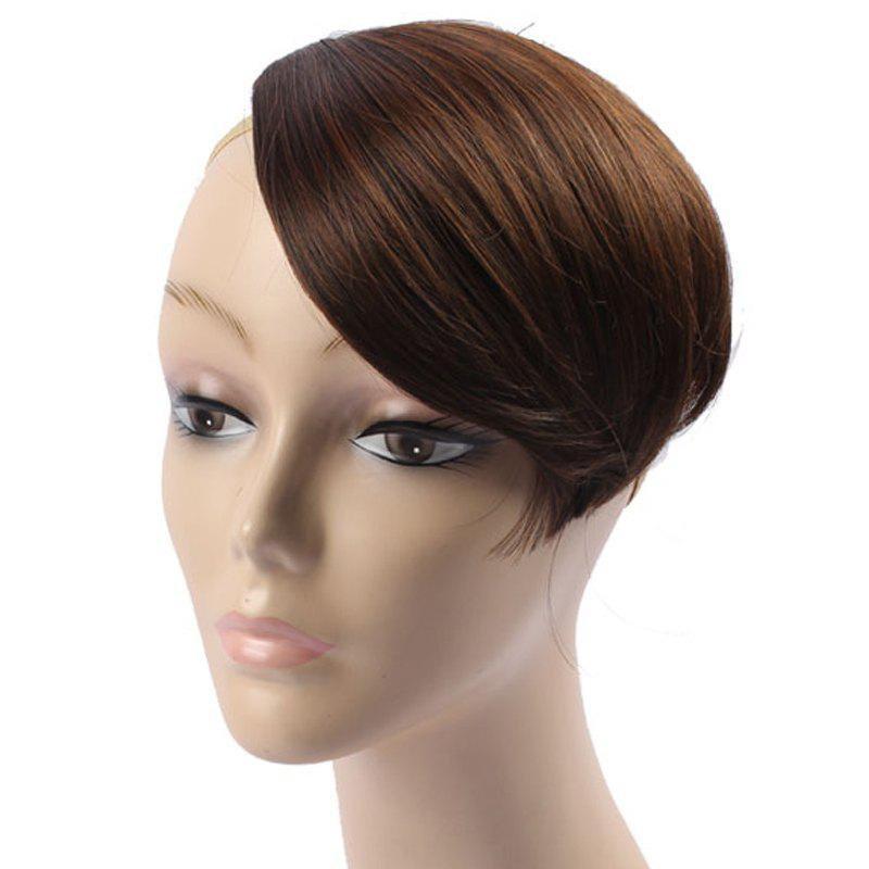 Stylish Assorted Color Straight Capless Clip-In Heat Resistant Synthetic Women's Side Bang - BROWN /