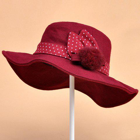 Chic Downy Small Ball and Polka Dot Strappy Embellished Women's Felt Hat - WINE RED