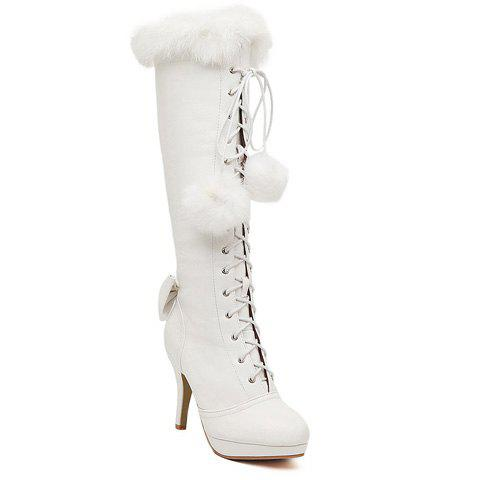 Sweet Faux Fur and Bowknot Design High Heel Boots For Women - WHITE 36