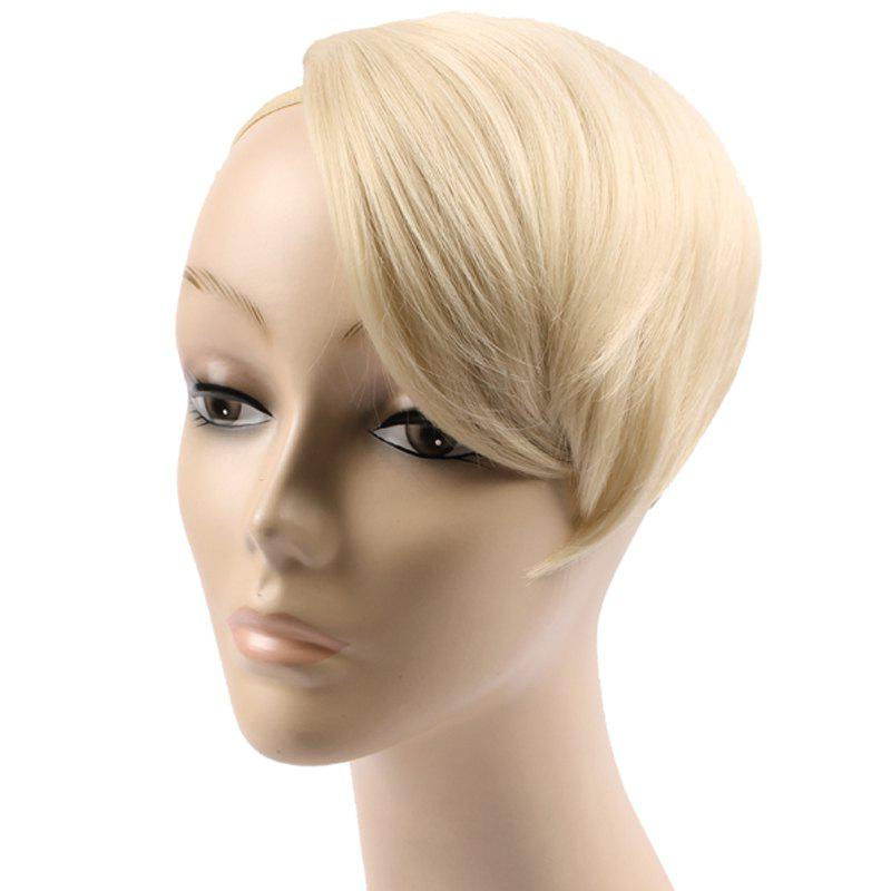 Trendy Straight Clip In Short Capless High Temperature Fiber Women's Side Bang - BLONDE