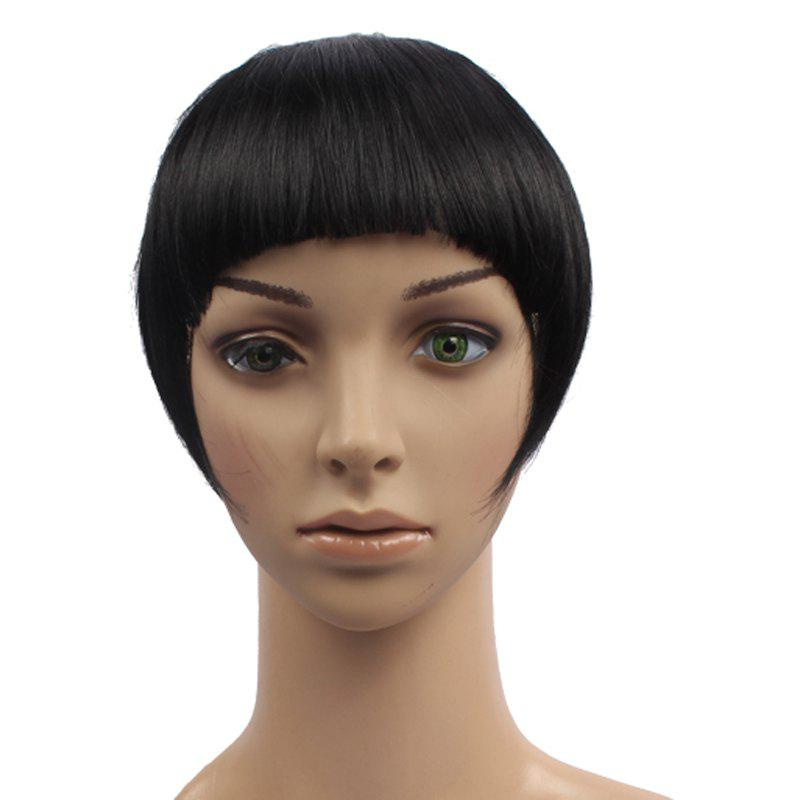Outstanding Straight Clip In Fluffy Heat Resistant Synthetic Full Bang With Sideburns For Women