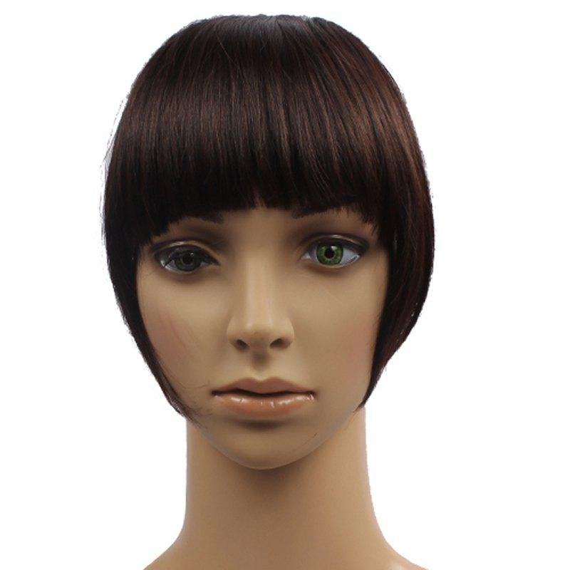 Outstanding Straight Clip In Fluffy Heat Resistant Synthetic Full Bang With Sideburns For Women - BROWN BLACK MIXED /