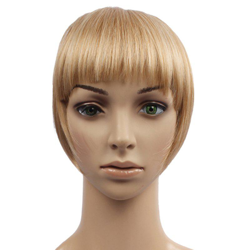 Fashion Brown Capless Fluffy Heat Resistant Fiber Straight Women's Full Bang With Sideburns