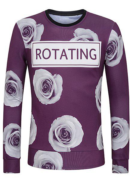 3D Flower and Letter Print Round Neck Long Sleeve Men's Sweatshirt - PURPLE M