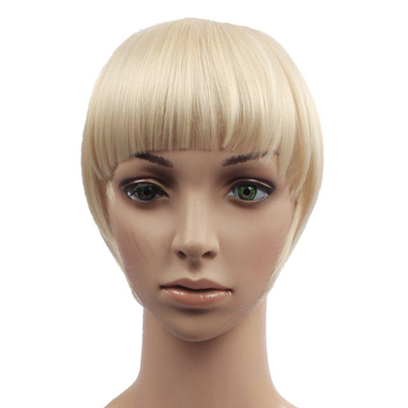 Trendy Straight Capless Assorted Color Clip In Synthetic Women's Full Bang With Sideburns - BLONDE