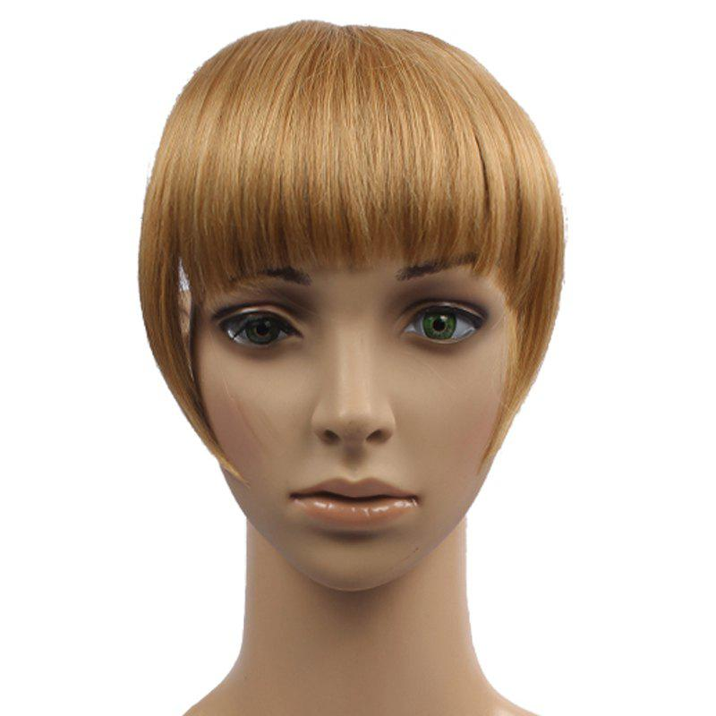 Vogue Brown Blonde Mixed Synthetic Capless Straight Women's Full Bang With Sideburns - COLORMIX