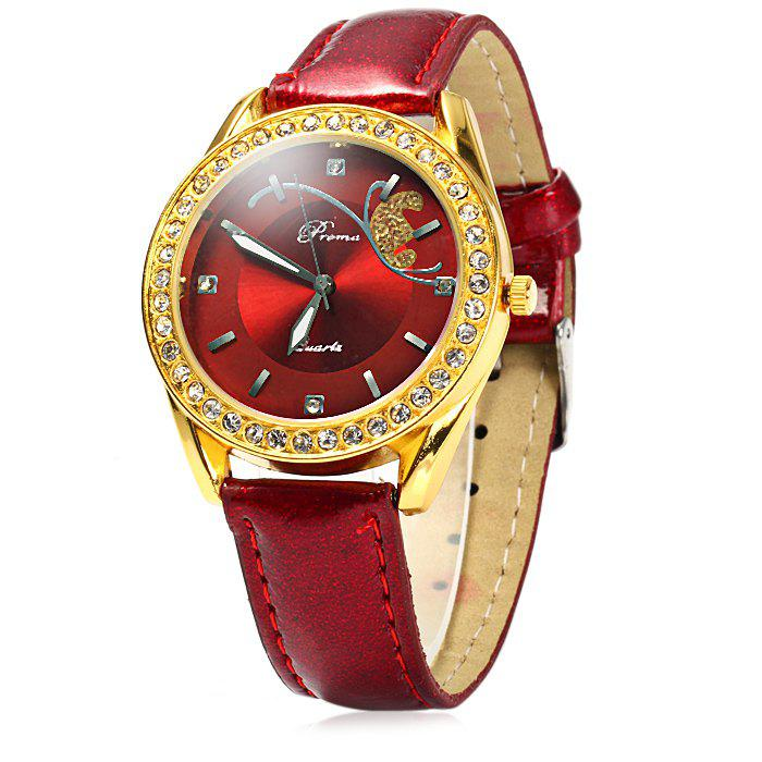 Prema Female Quartz Watch Diamond Bezel Leather Watchband - RED