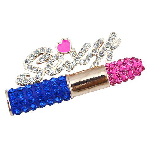 Charming Rhinestoned Letter Lipstic Brooch For Women - COLORMIX