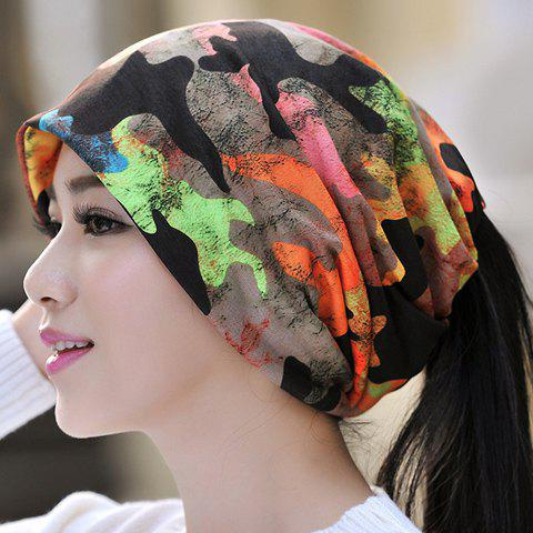 Chic Colorful Camo Pattern Women's Multifunctional Beanie - DEEP BLUE