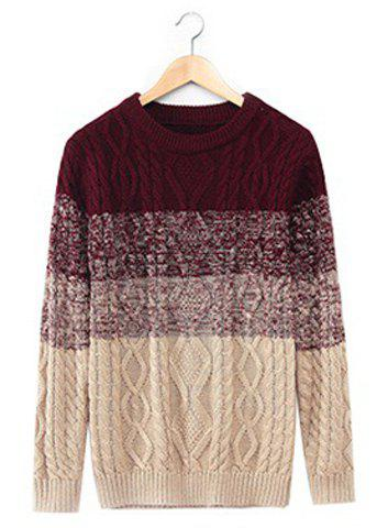 Cool Ombre Design Round Neck Hemp Flowers Intarsia Slimming Men's Long Sleeves Sweater - WINE RED 2XL