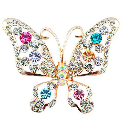 Rhinestoned Faux Crystal Butterfly Brooch - RANDOM COLOR