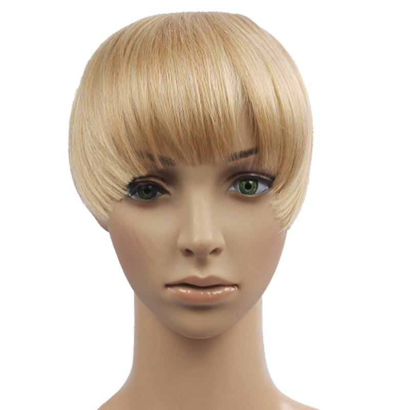Vogue Deep Blonde Clip In Synthetic Fluffy Straight Capless Women's Full Bang - DEEP BLONDE