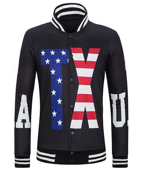 Stripe Stand Collar Long Sleeve Letter and Star Print Rib Splicing Jacket - BLACK M