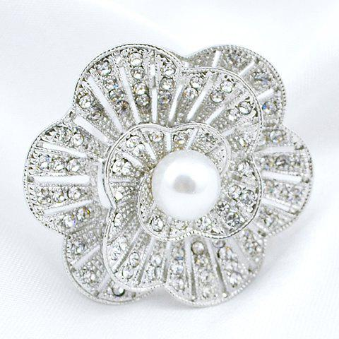 Chic Faux Pearl Rhinestoned Flower Brooch For Women - RANDOM COLOR