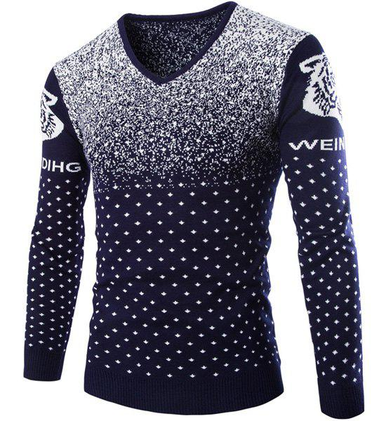 Cartoon Tiger Snowflake Jacquard Color Block Slimming V-Neck Long Sleeves Men's Sweater