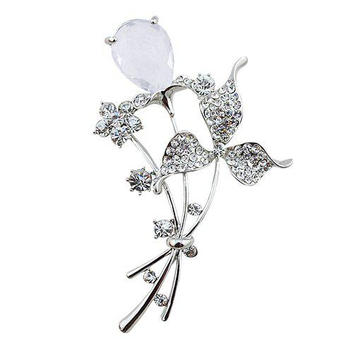 Graceful Rhinestoned Faux Crystal Floral Brooch For Women - RANDOM COLOR
