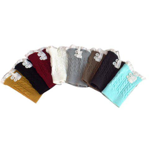 Pair of Chic Button and Lace Embellished Hemp Flowers Women's Knitted Boot Cuffs - COLOR ASSORTED