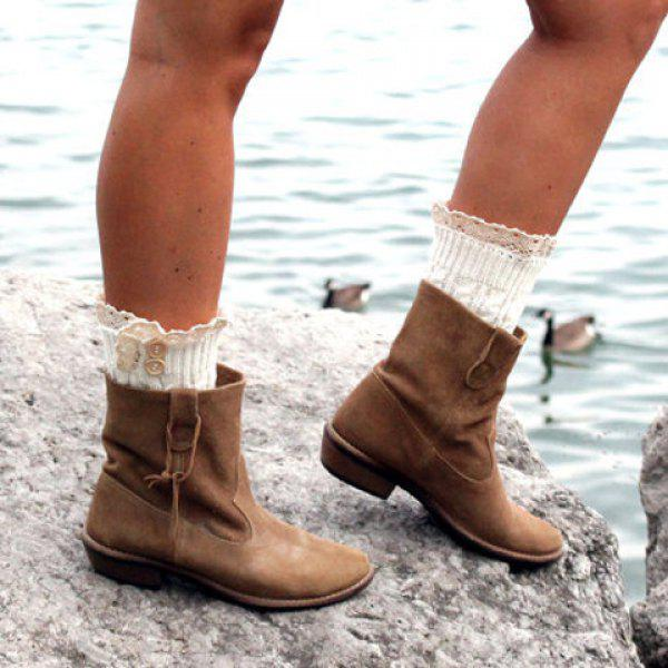 Pair of Chic Button and Lace Embellished Hemp Flowers Women's Knitted Boot Cuffs
