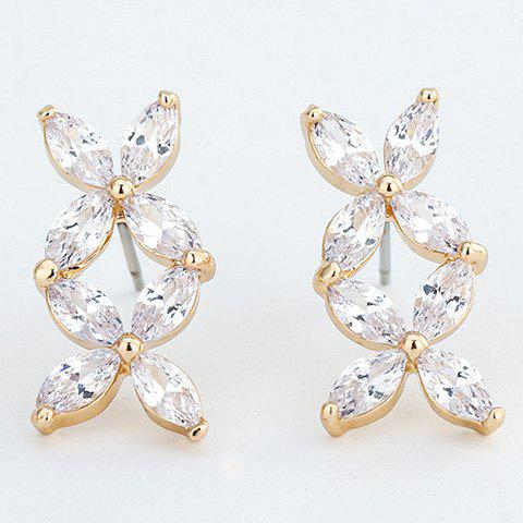 Pair of Chic Zircon Decorated Flower Earrings For Women - GOLDEN