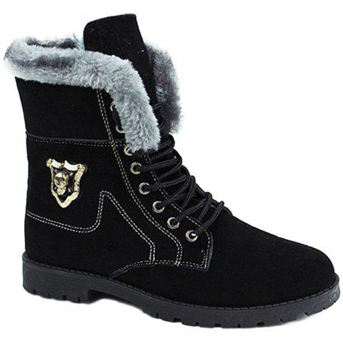 Stylish Skull and Faux Fur Design Boots For Men - BLACK 44