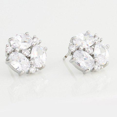 Pair of Chic Zircon Decorated Snowflake Earrings For Women - SILVER