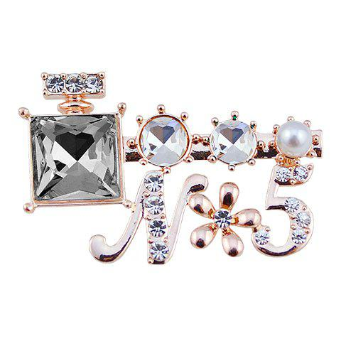 Rhinestoned Faux Crystal Letter Shape Brooch - RANDOM COLOR