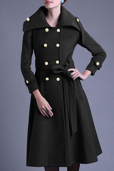 Chic Long Sleeve Turn-Down Neck Button Design Women's Peacoat - BLACK L