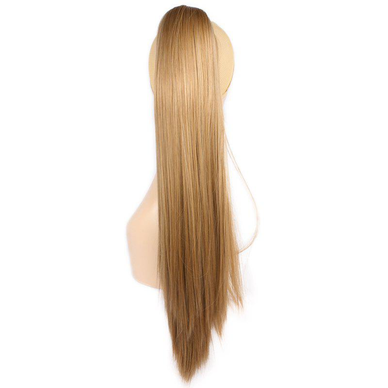 Stylish Claw Clip Synthetic Silky Straight Long Brown Blonde Mixed Women's Ponytail - COLORMIX