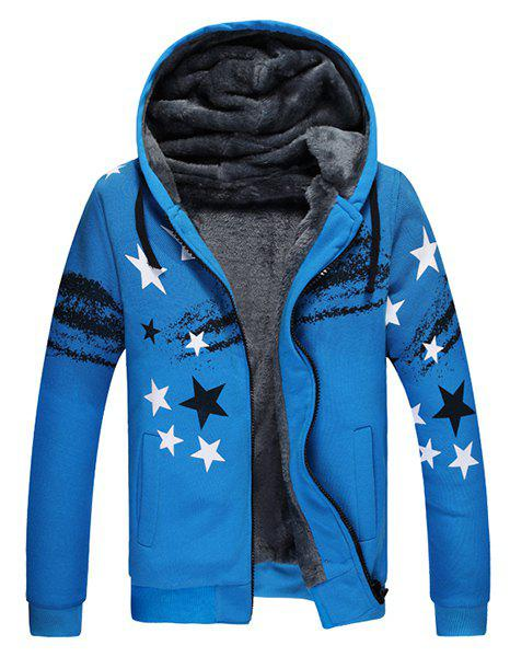 Five-Pointed Star Patch Pocket Rib Hem Drawstring Hooded Long Sleeves Men's Flocky Hoodie - BLUE L