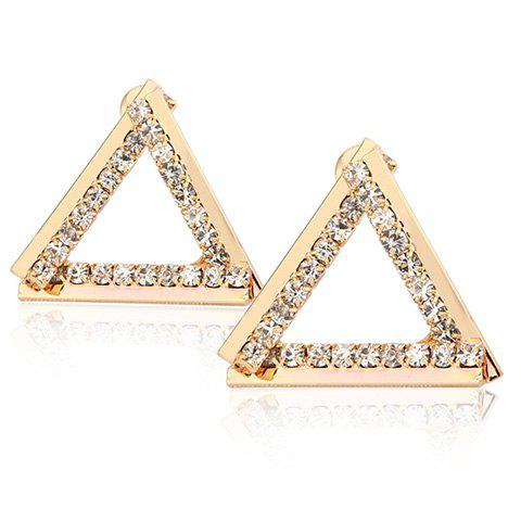 Pair of Stunning Rhinestone Hollow Out Triangle Earrings For Women - GOLDEN