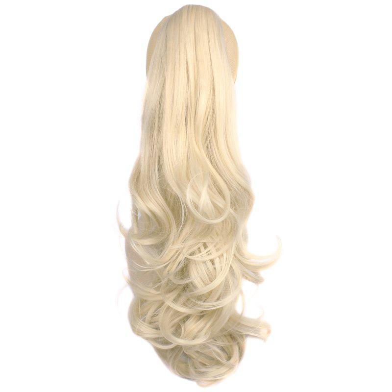 Attractive Fluffy Wave Long Capless Trendy Claw Clip Synthetic Women's Ponytail - PALE BLONDE /